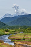 Mountain landscape: eruption Zhupanovsky Volcano on Kamchatka Royalty Free Stock Images