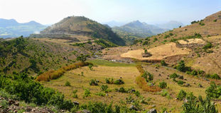 Mountain landscape in Ethiopia. River in the valley of mountains Stock Photo