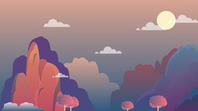 Mountain landscape on evening with sky and moon.Beautiful nature landscape royalty free illustration