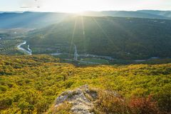 Mountain landscape in the evening sunny day royalty free stock images