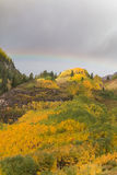Mountain Landscape in Fall With Rainbow Stock Images
