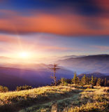 Fantastic sunrise in the mountains Royalty Free Stock Photography