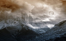 Mountain landscape fantasy. Night mountain scenery fantasy background Stock Photo