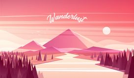Mountain landscape fir forest river sunset vector. Beautiful abstract mountain landscape with a fir forest and a river at the sunset, vector illustration Stock Photography