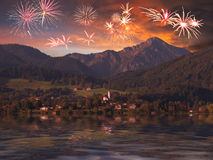 Mountain landscape with fireworks Royalty Free Stock Images