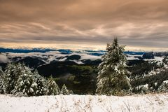 Mountain landscape after first snow Royalty Free Stock Images