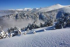 Mountain landscape and fog. Borovets, Bulgaria royalty free stock photos
