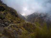 Mountain landscape. Fog in the mountains. Himalaya afternoon in severe natural environment. Stock Images