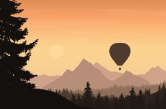 Mountain landscape with forest and flying hot air balloon with t. Ourists, under orange sky - vector vector illustration