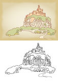 Mountain landscape with fortress on a cliff. Sketch, hand drawn Royalty Free Stock Image