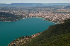 Aerial view of the lake and the city of Annecy in Haute Savoie, France stock image