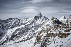 Mountain landscape of frozen ice peaks stock images