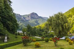 Mountain landscape. From the garden, cortyard of Turnu Monastery, Valcea county, Romania Royalty Free Stock Image