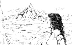 Mountain landscape with girl. A mountain landscape with long hair girl. Black and white illustration stock illustration