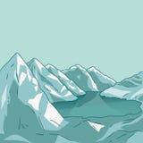 Mountain landscape. Glacial lake. Vector. Mountain landscape. Glacial lake. North landscape. Vector modern illustration Stock Photography