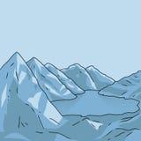 Mountain landscape. Glacial lake. Vector. Mountain north landscape. Glacial lake. Vector modern illustration Royalty Free Stock Photos