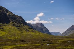 Mountain landscape in the Glencoe area in Scotland, Springtime view mountains with grassland and countryside road in the valley of. The Scottish highland near Stock Photo