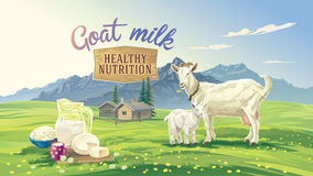 Mountain landscape with goat and kid. Set dairy product with village in background. Vector illustration Stock Photo