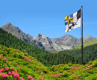 Mountain landscape with Graubunden canton flag Stock Photo