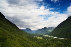 Mountain landscape with green forest. At Bovec, Slovenia Stock Photography