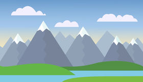 Mountain landscape with green hills under blue sky Stock Image