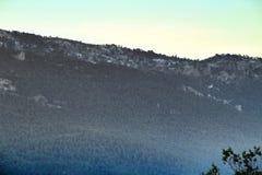 Mountain landscape with green vegetation in winter. In Riopar, Albacete province, Castilla la Mancha, Spain stock photo
