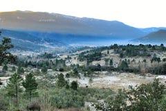 Mountain landscape with green vegetation in winter. In Riopar, Albacete province, Castilla la Mancha, Spain royalty free stock photos
