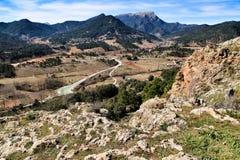 Mountain landscape with green vegetation in winter. In Riopar, Albacete province, Castilla la Mancha, Spain royalty free stock images
