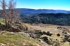 Mountain landscape with green vegetation in winter. In Riopar, Albacete province, Castilla la Mancha, Spain stock images
