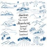 Mountain landscape. Hand-drawn sketches of the mountains. Ski sl Stock Image