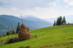 Mountain landscape with haystacks. royalty free stock image