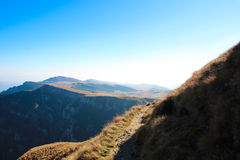 Mountain landscape at high altitude, with hills and big stones Royalty Free Stock Images