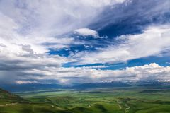 Mountain landscape. High mountain green valley. Suusamyr Valley. Kyrgyzstan stock image