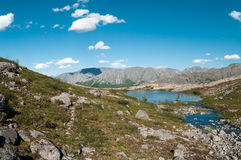 Mountain landscape with highland lakes Royalty Free Stock Photography