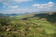 Mountain Landscape with Highway in Golden Gate Highlands Stock Photo
