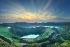 Mountain landscape Ponta Delgada island, Azores Portugal royalty free stock image
