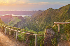 Mountain landscape with hiking trail and view of beautiful lakes, Ponta Delgada, Sao Miguel Island, Azores, Portugal Stock Image
