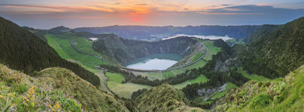 Mountain landscape with hiking trail and view of beautiful lakes, Ponta Delgada, Sao Miguel Island, Azores, Portugal Royalty Free Stock Images