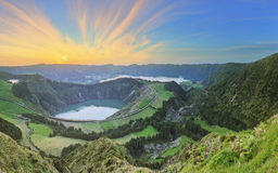 Mountain landscape with hiking trail and view of beautiful lakes, Ponta Delgada, Sao Miguel Island, Azores, Portugal Royalty Free Stock Image
