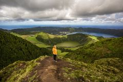 Mountain landscape with hiking trail and view of beautiful lakes, Ponta Delgada, Sao Miguel Island