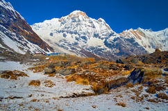 Mountain Landscape in Himalaya. Annapurna South peak and mountain stream. Nepal, Annapurna Base Camp Track. Royalty Free Stock Images