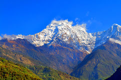 Mountain Landscape in Himalaya. Annapurna South peak, Nepal, view from Landruk. Stock Images