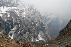 Mountain Landscape in Himalaya. Snowy wall, Annapurna Base Camp Track. royalty free stock image