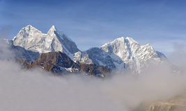 Mountain landscape of the Himalayas. Peak Kangtega and Thamserku. Eastern Nepal Stock Photo