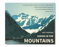 Banner hiking in the mountains-03. Mountain landscape - horizontal banner, poster with text. A view of the rocks. Gorge of the river, brightly lit by the sun Royalty Free Stock Image