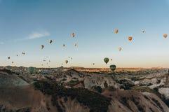 Mountain landscape with Hot air balloons,. Cappadocia, Turkey stock image