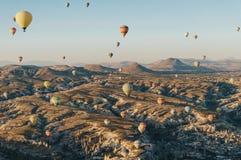 Mountain landscape with Hot air balloons,. Cappadocia, Turkey stock photography