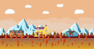 Mountain landscape with house. Mountain landscape with wooden house and forest. Natural autumn vector illustration in flat style Royalty Free Stock Photography