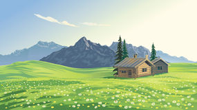 Mountain landscape with houses. Royalty Free Stock Images
