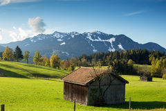 Mountain landscape with hovel Royalty Free Stock Photo